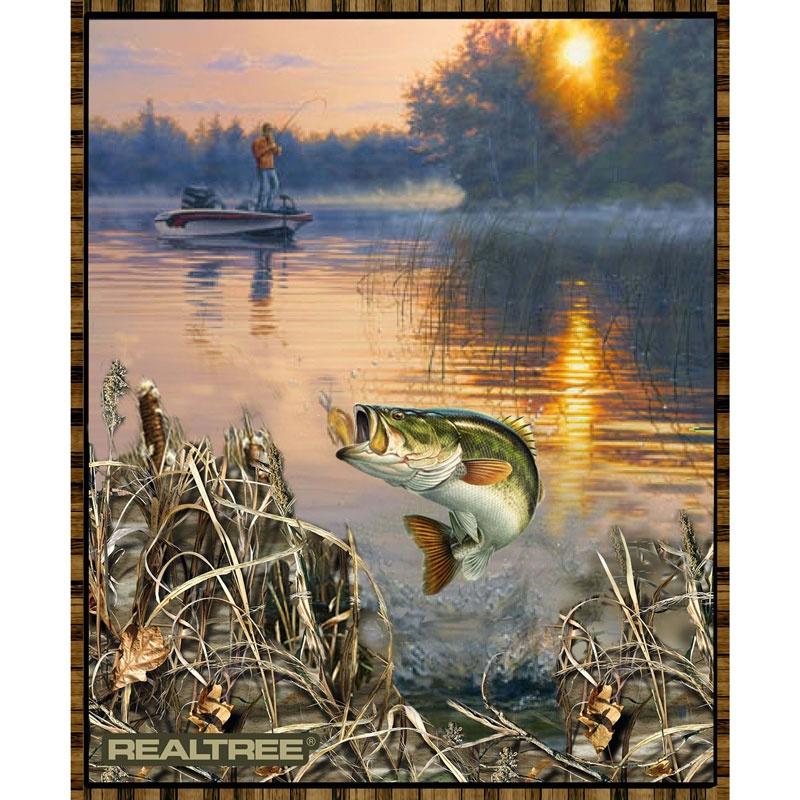 Realtree - Bass Fishing Panel - Realtree Licensed Products - Print ... : fishing quilt - Adamdwight.com