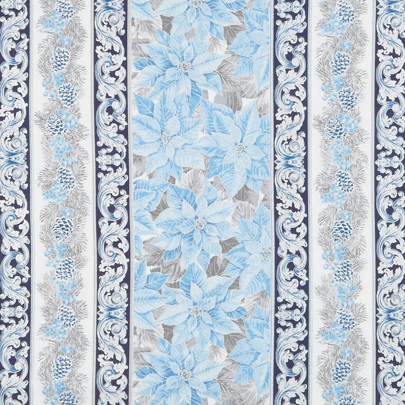 Holiday Flourish 13 - Blue Stripes Metallic Yardage