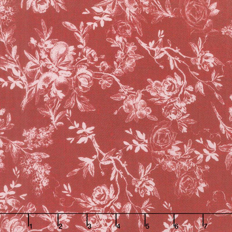 Farmhouse Rose - Toile Red Yardage