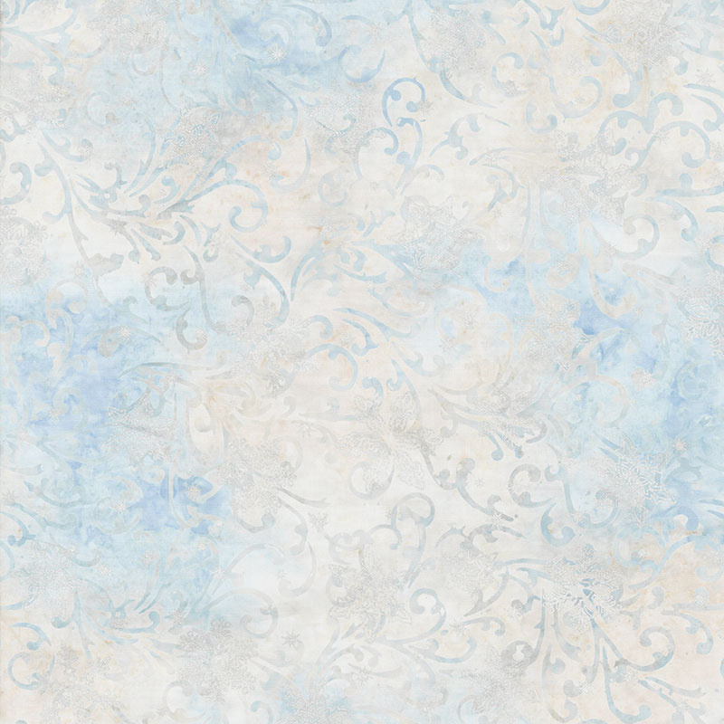 Artisan Batiks - Twilight Snowfall Swirls Snowflakes Dawn Metallic Yardage