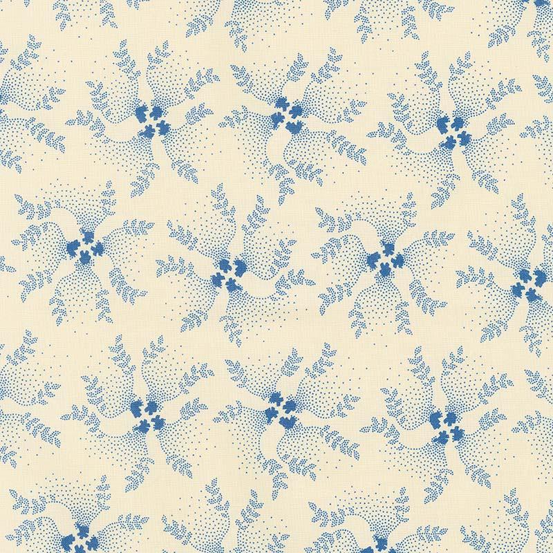 Mood in Blue - Twirling Vine Cream Yardage