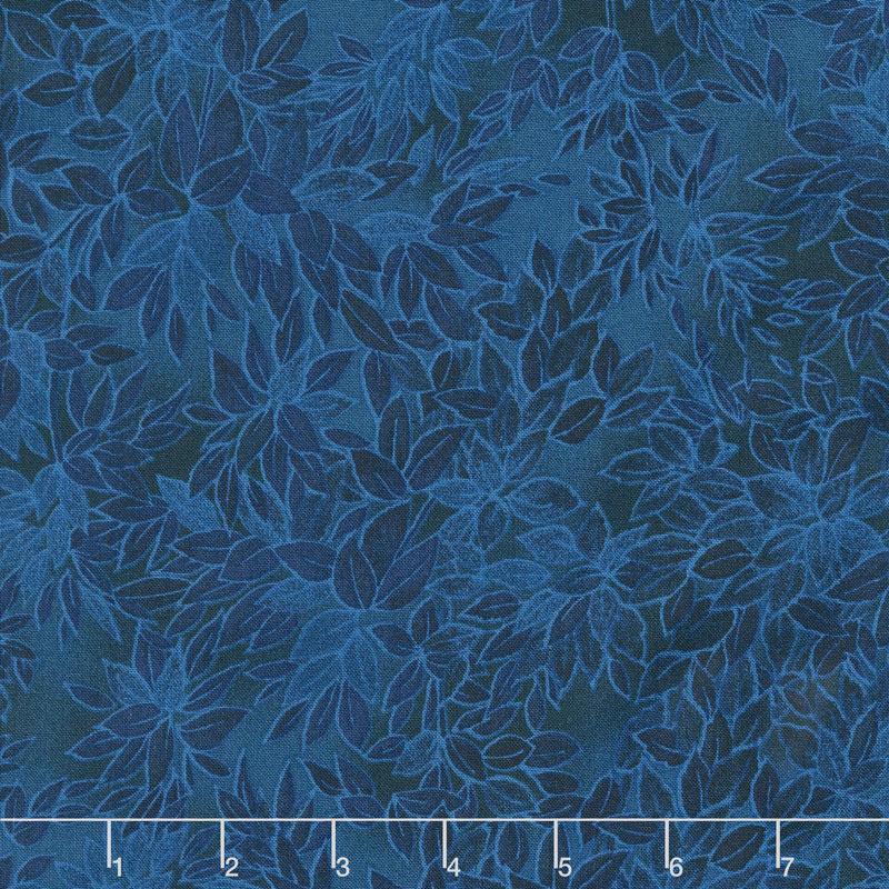 Miyako - Packed Leaves Blue Yardage