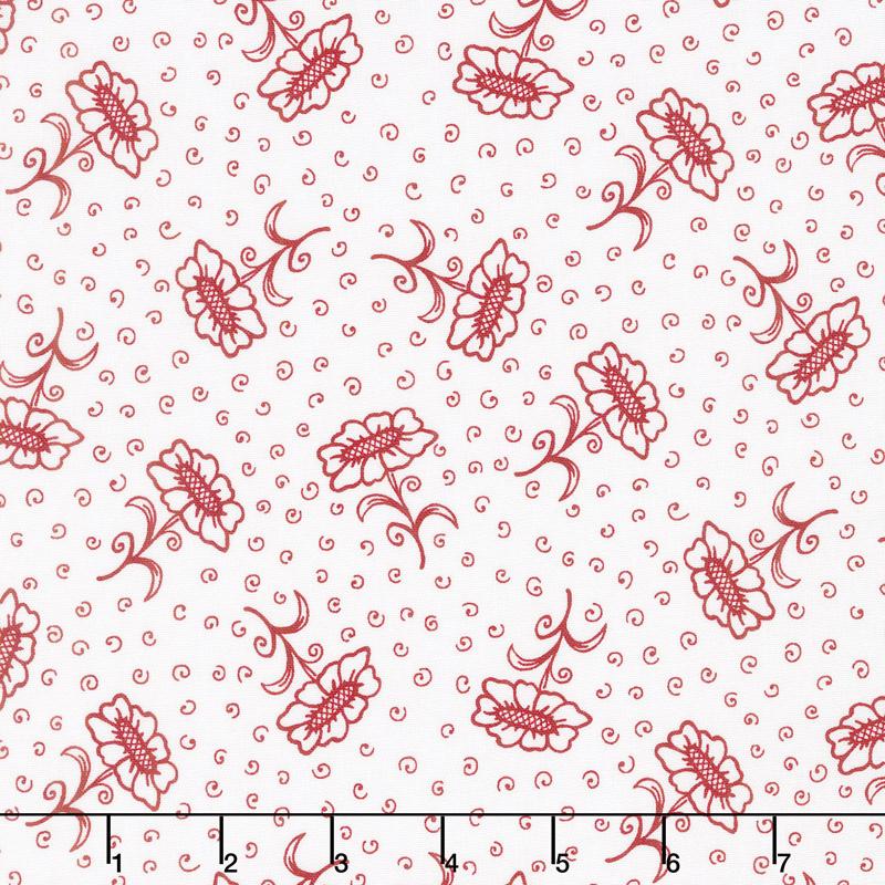Scarlet Romance - Flower with Stem Red on White Yardage