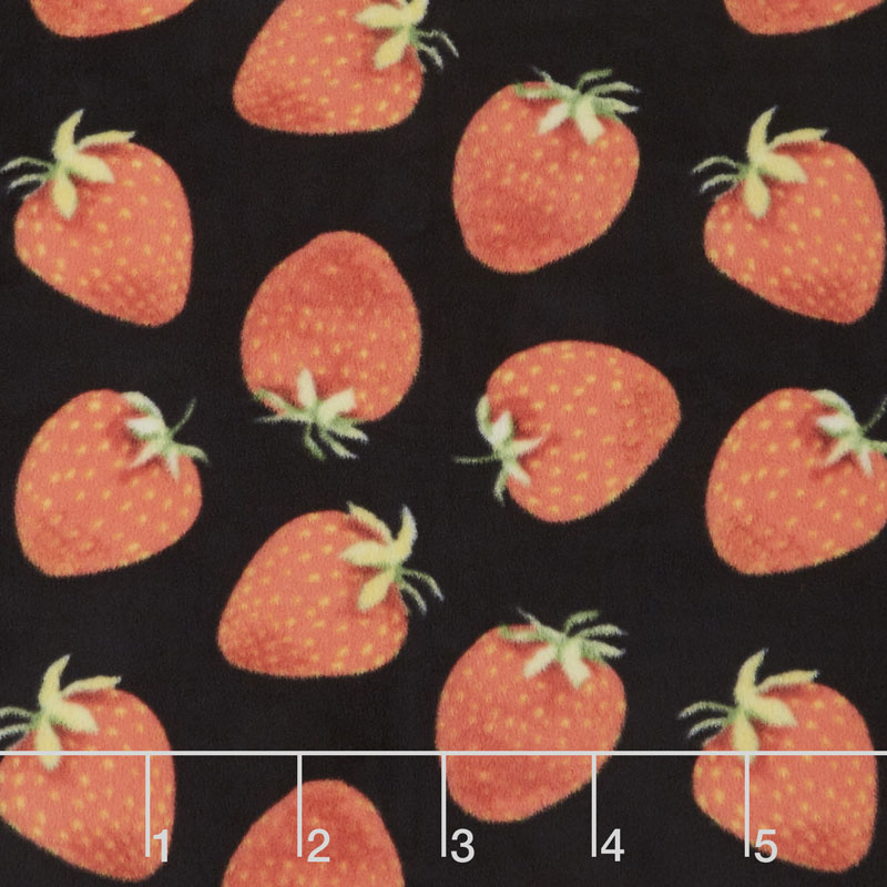 Winterfleece - Strawberries Black Yardage