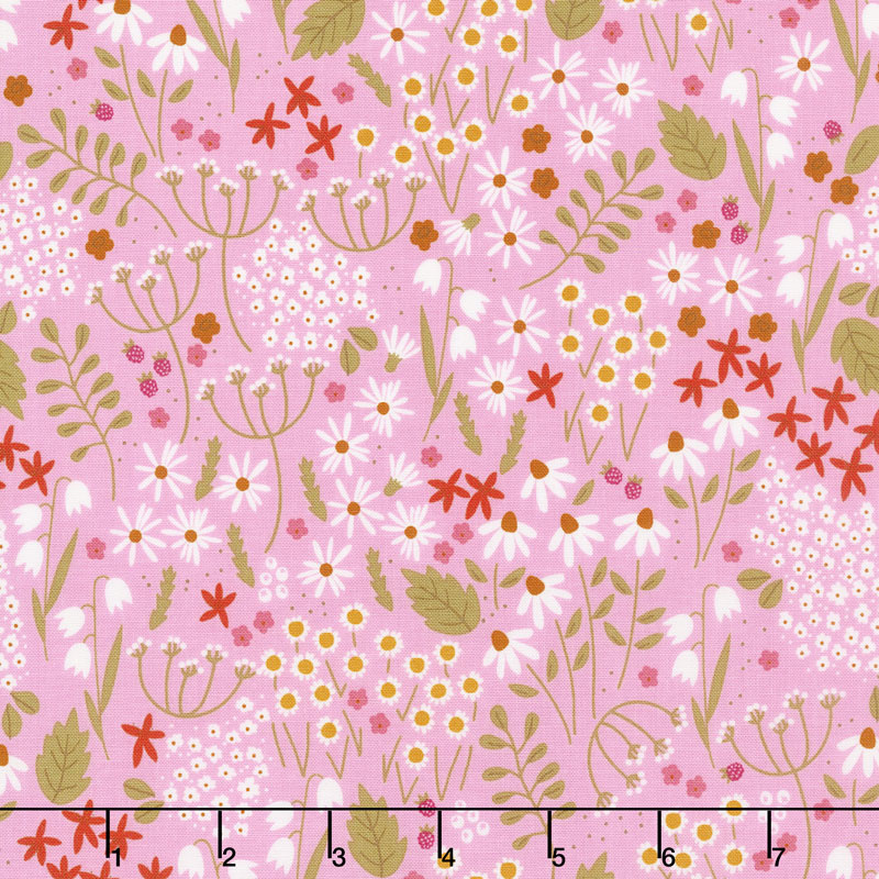 Wild Bouquet - Wildflowers Pink Yardage