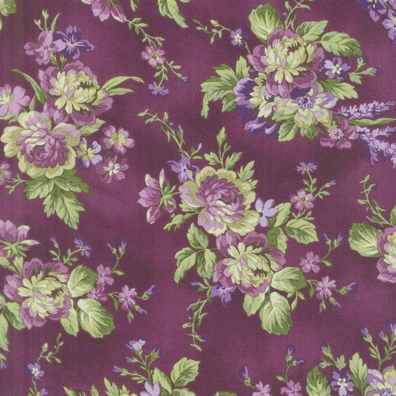 Aubergine - Floral Bouquets Aubergine Yardage