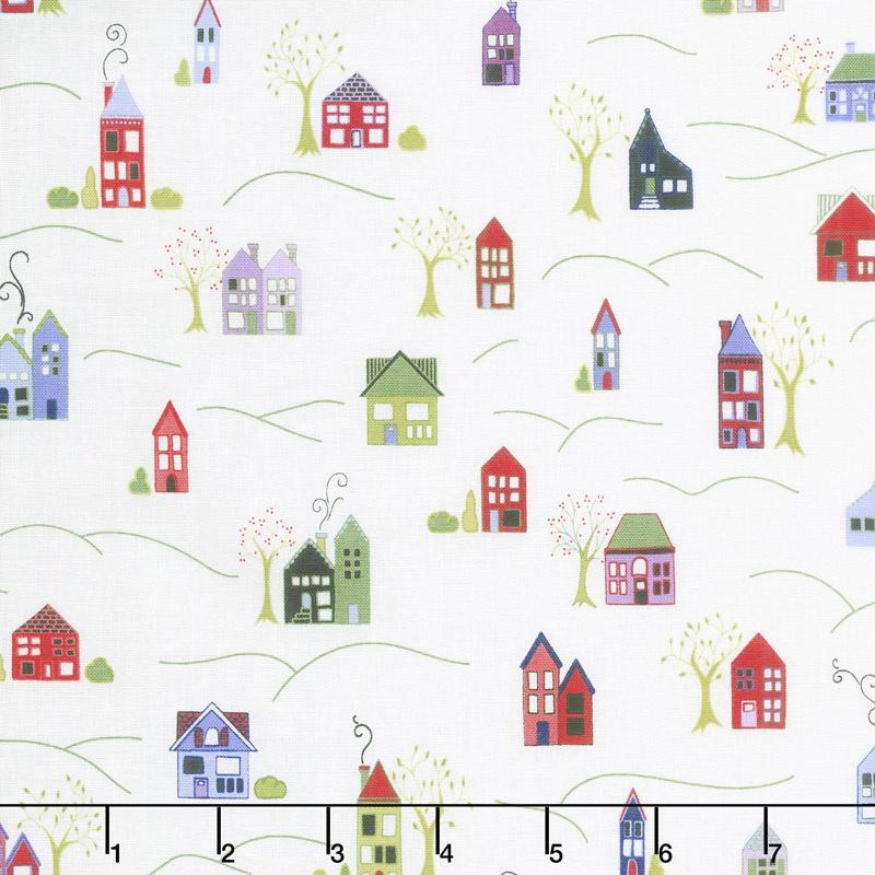 Home Again - Houses White Yardage