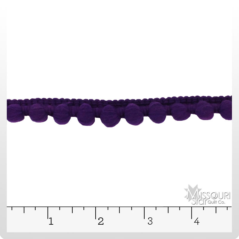 Baby Pom Fringe - Purple Trim