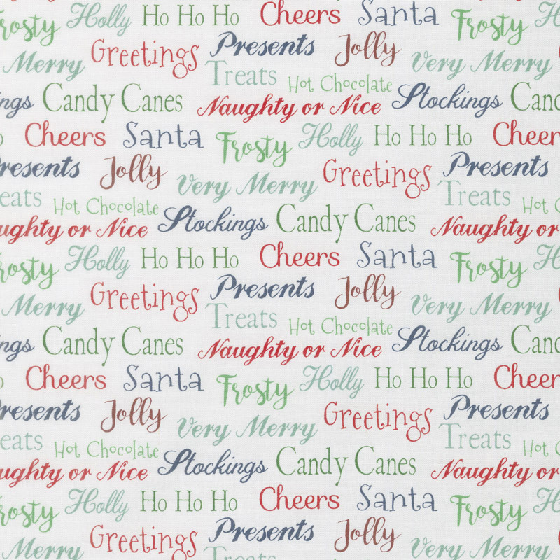 Fa La La - Christmas Sayings White Multi Yardage - Northcott Fabrics ...