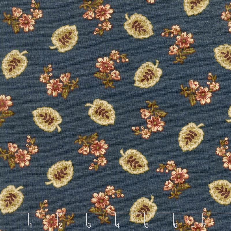 Buttermilk Blossoms - Leaf & Spray Toss Navy Yardage
