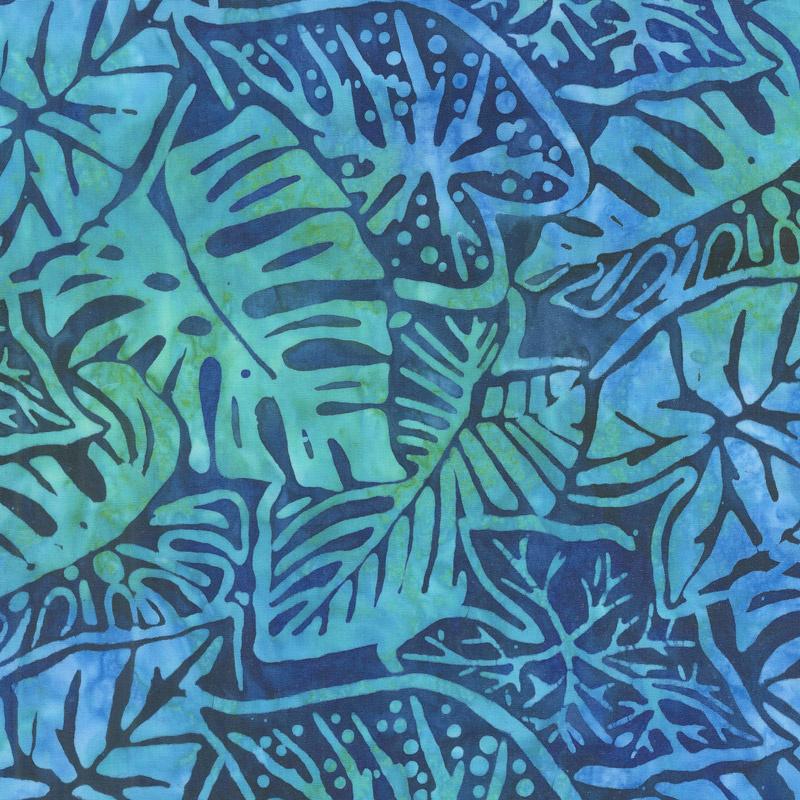 Artisan Batiks - Totally Tropical Leaves Ocean Yardage