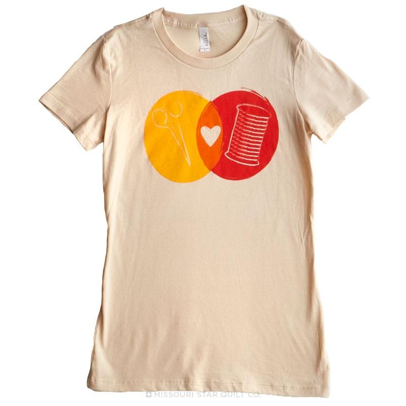 Venn Diagram Large Women's Youth Fit Crew Neck T-Shirt - Warm/Natural