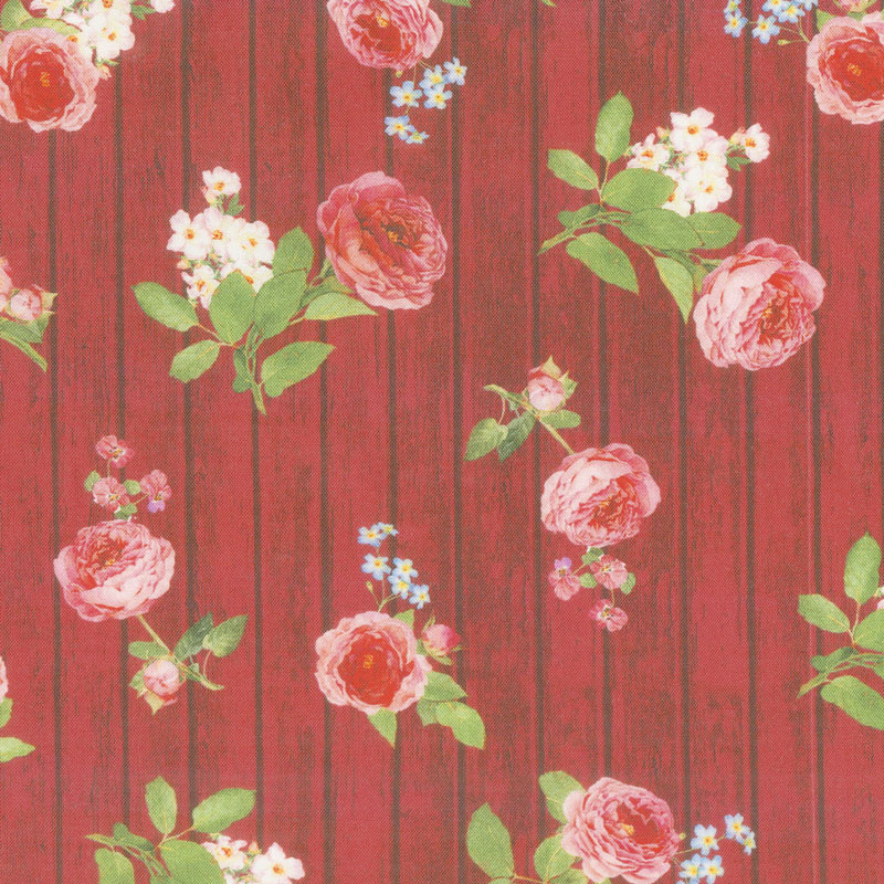 Farmhouse Rose - Wood Red Yardage