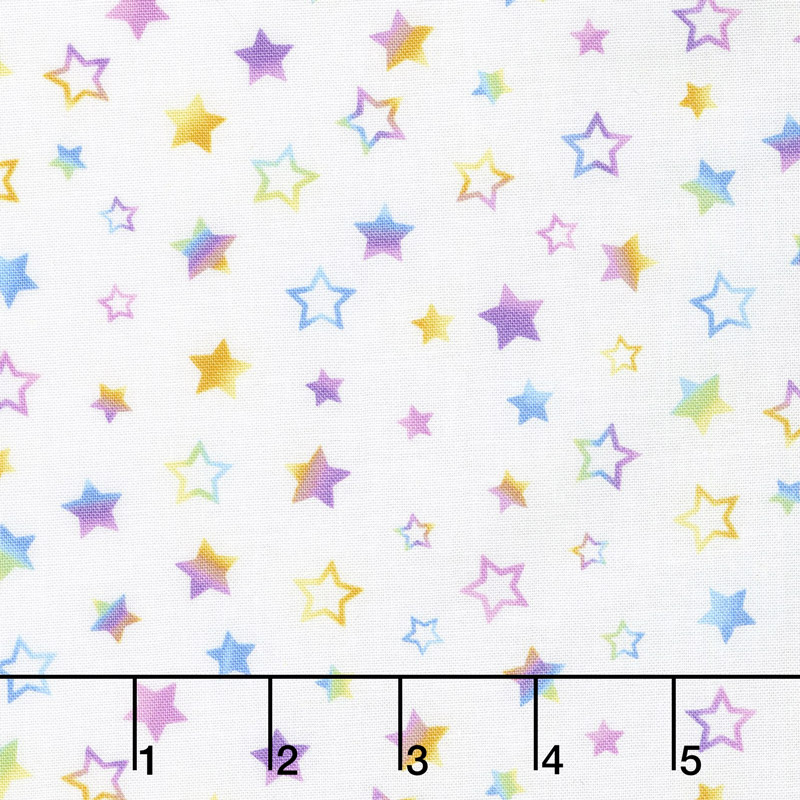 Small Rainbow Stars White Yardage