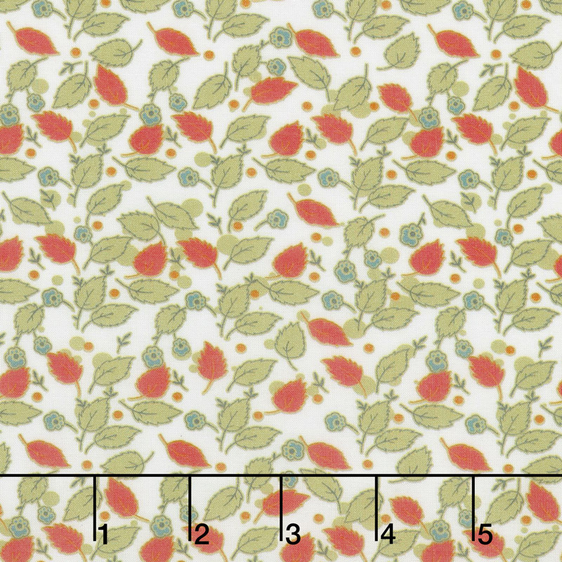 Floral Hues - Leaves Cream Cotton Lawn Yardage