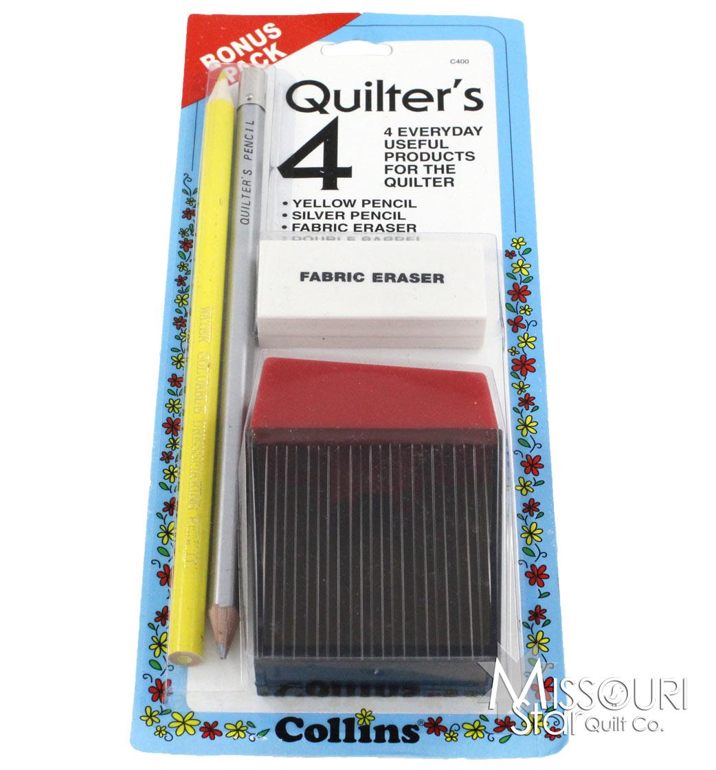 Quilters 4 Pack - Pencils, Fabric Eraser & Sharpener