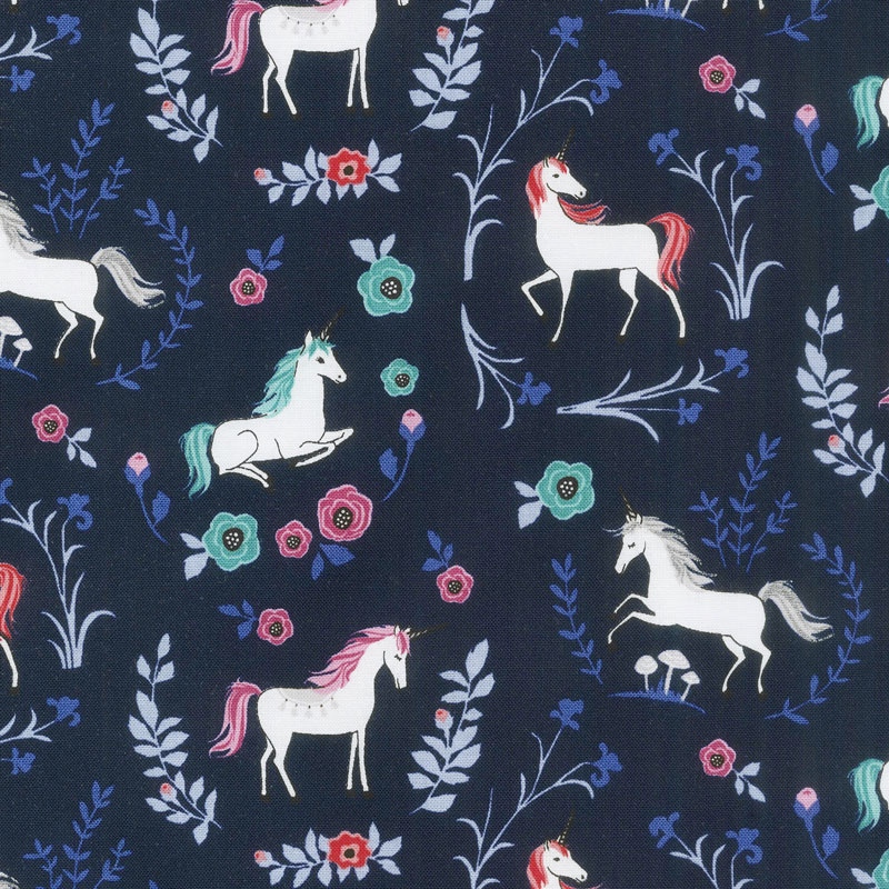 My Unicorn - Garden Navy with Sparkle Yardage
