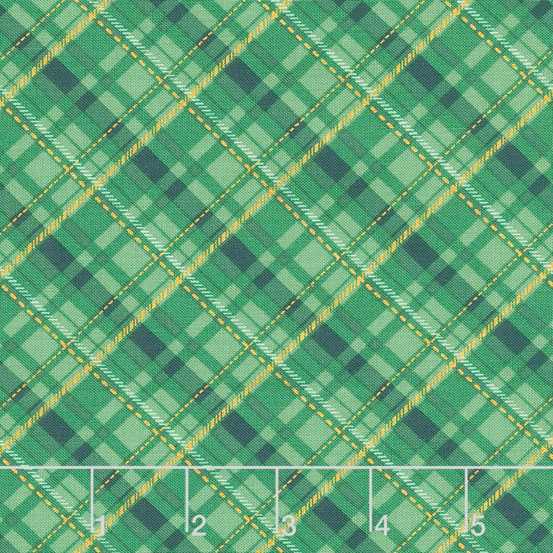 Winter's Grandeur 8 - Holiday Plaid Gold Green Metallic Yardage