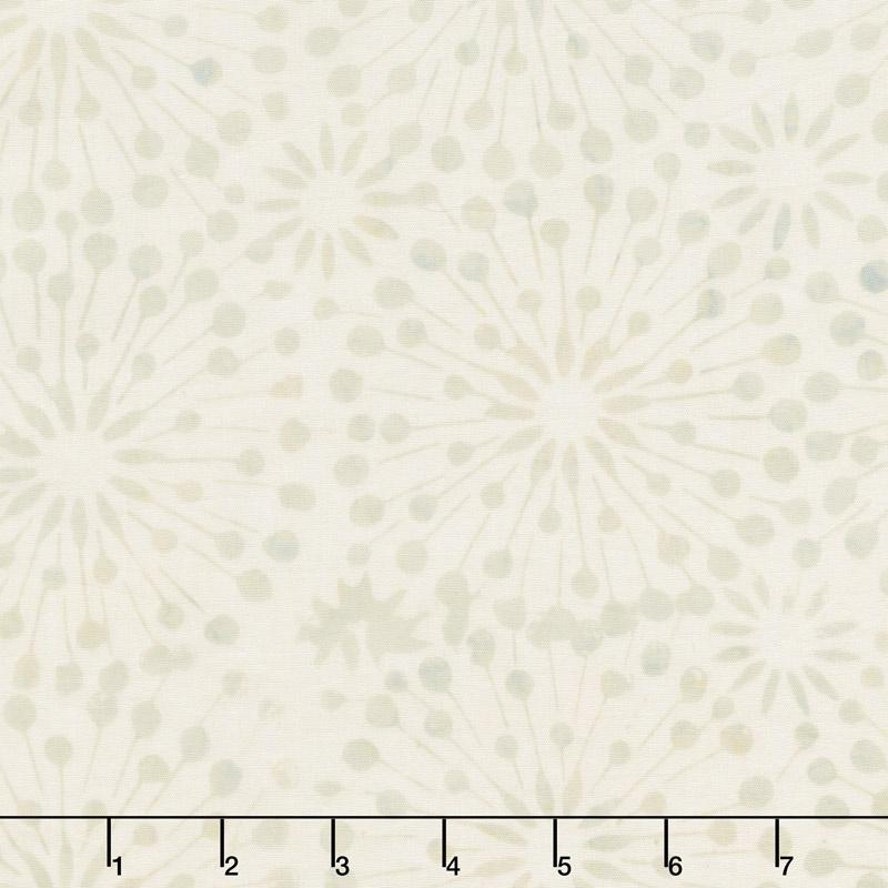 Cream of the Crop Batiks - Dandelion Burst Tan Green Yardage