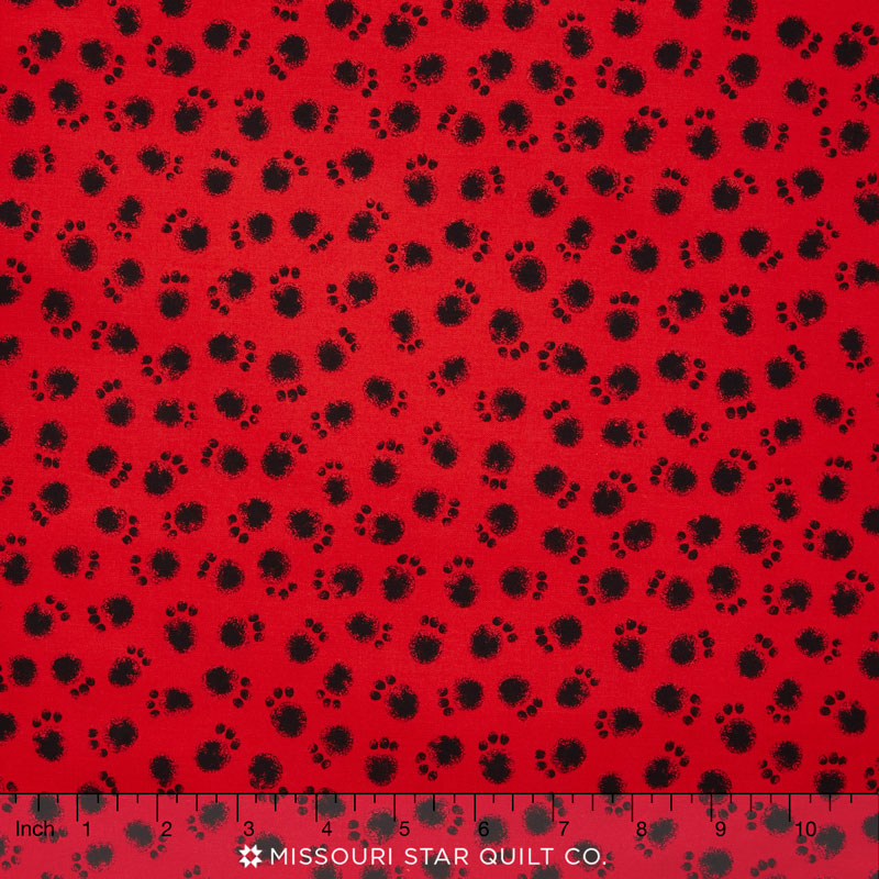 Smudgy Cat - Smudgy Paw Red Yardage