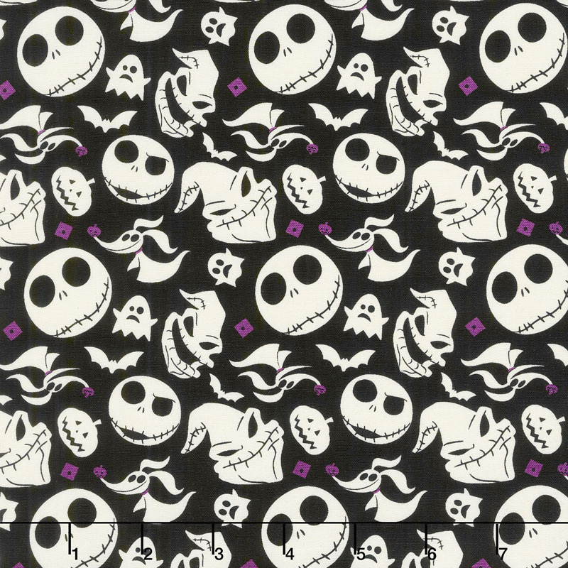 jack is back tim burtons the nightmare before christmas heads tossed black yardage