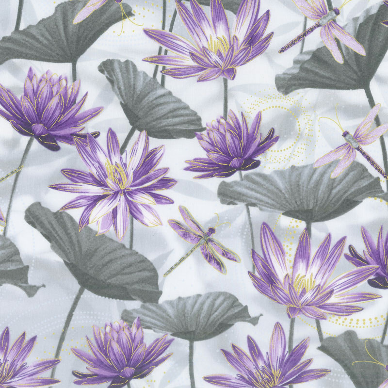Dragonfly Dance - Purple Water Lily Pool Gray Purple Metallic Yardage