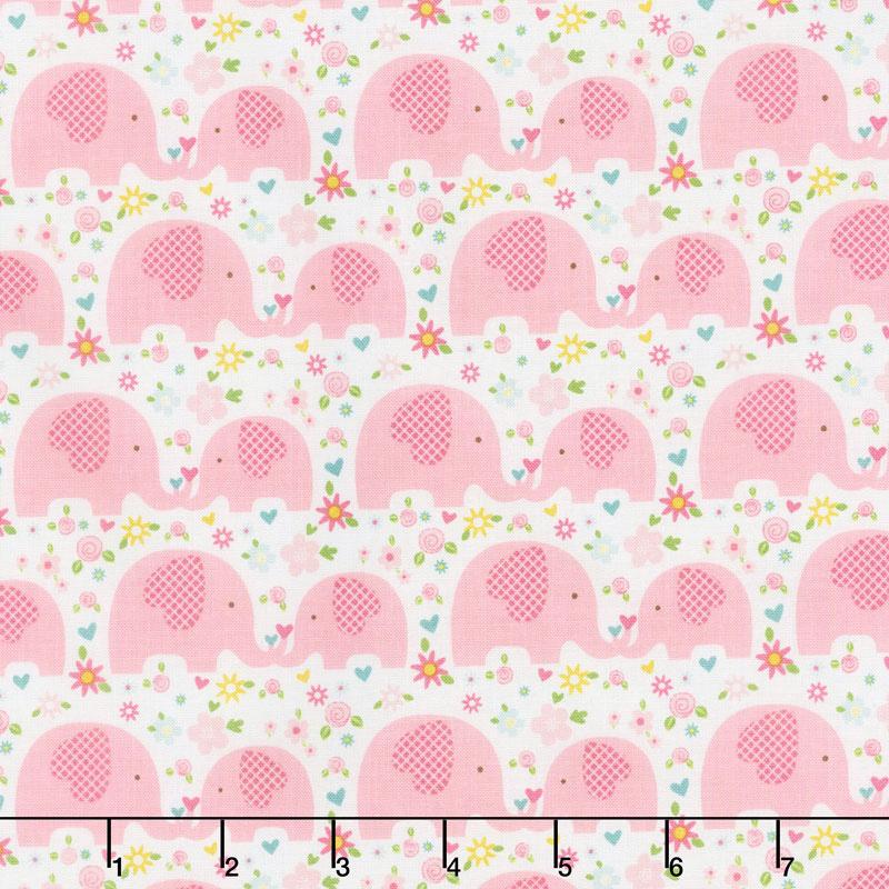 Sweet Baby Girl - Elephants Pink Yardage