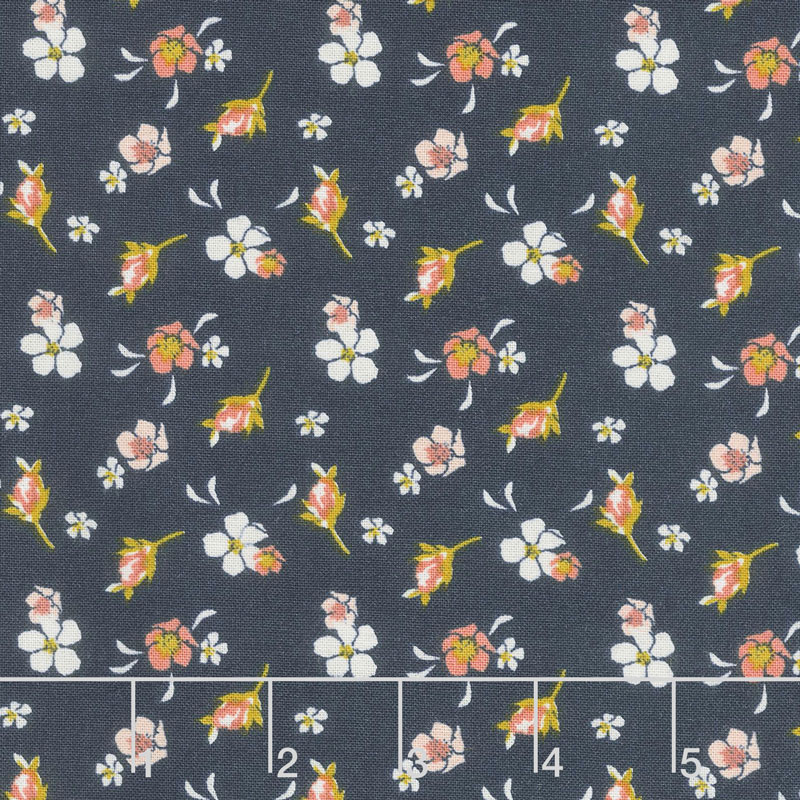 Golden Days - Floral Navy Yardage