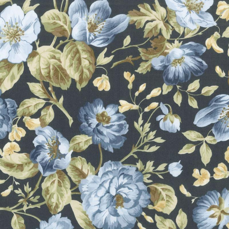 English Countryside - Focal Floral Navy Yardage