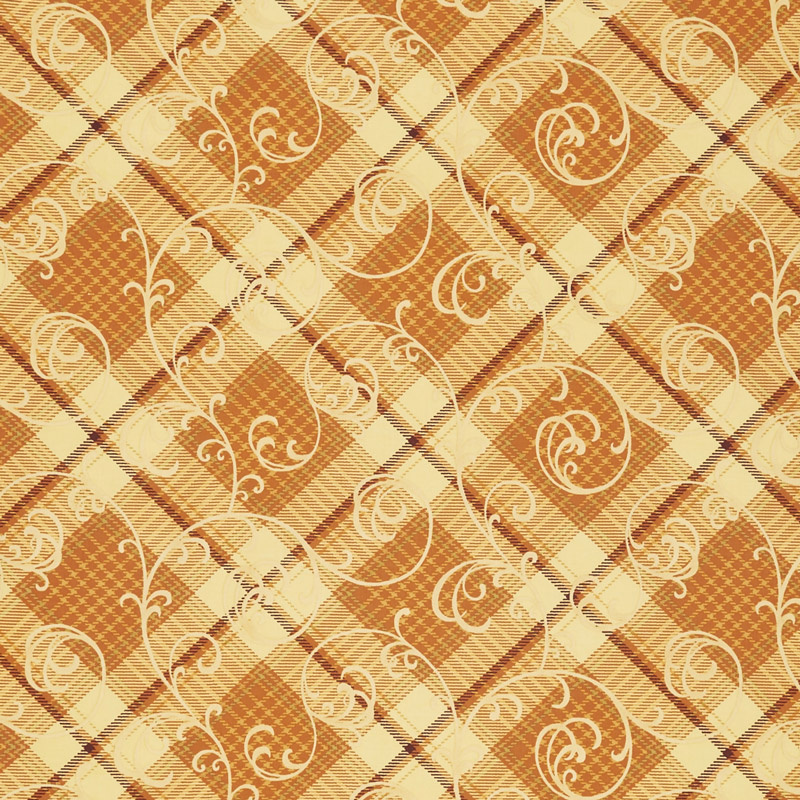 Autumn Time - Plaid Scroll Butter Yardage