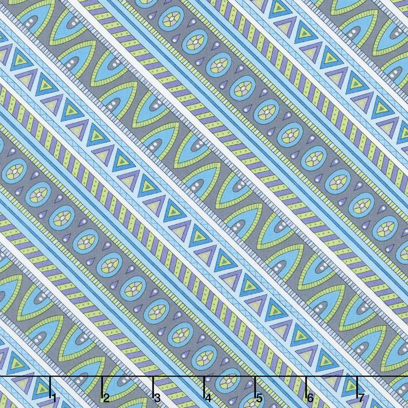 Arctic Wonderland - Diagonal Stripe Gray/Teal Yardage
