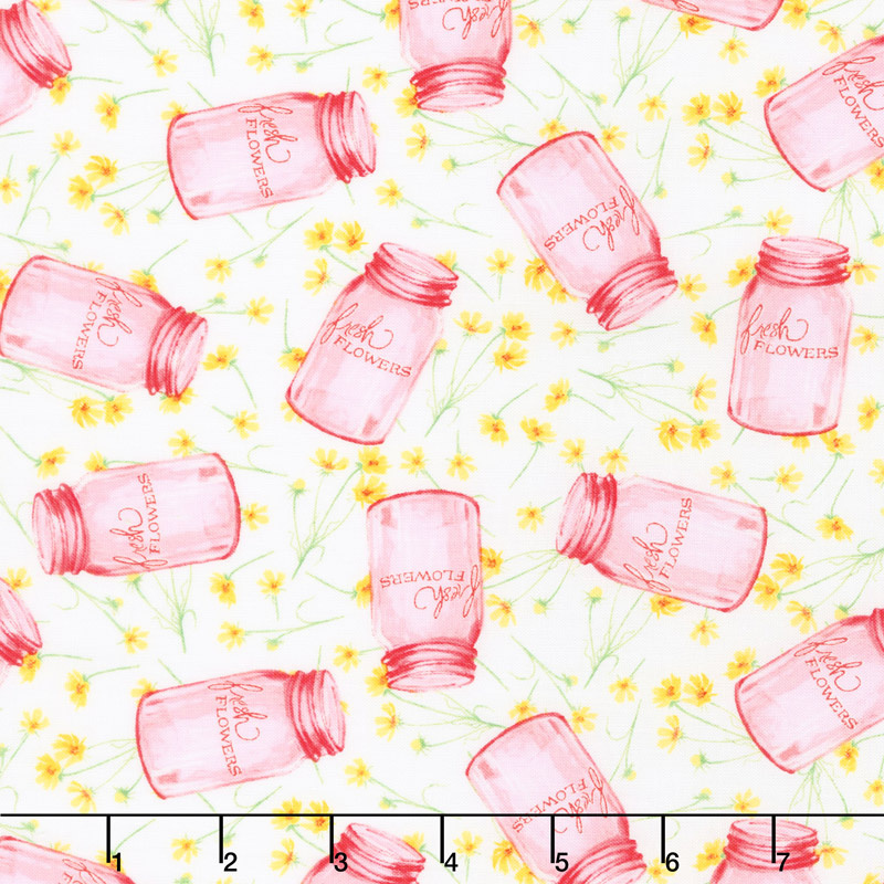 Cottage Joy - Flower Jars Pink Yardage