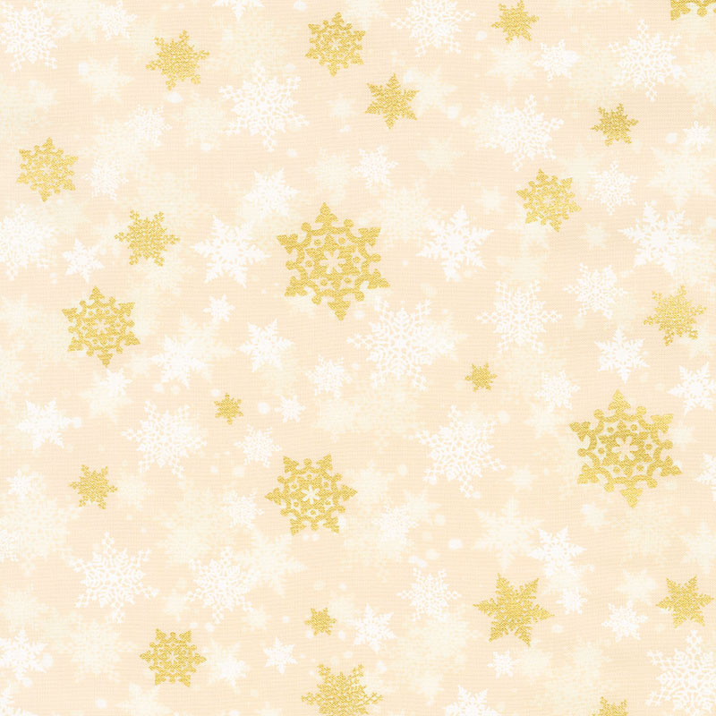 Winter's Grandeur 8 - Holiday Snowflakes Gold Ivory Metallic Yardage