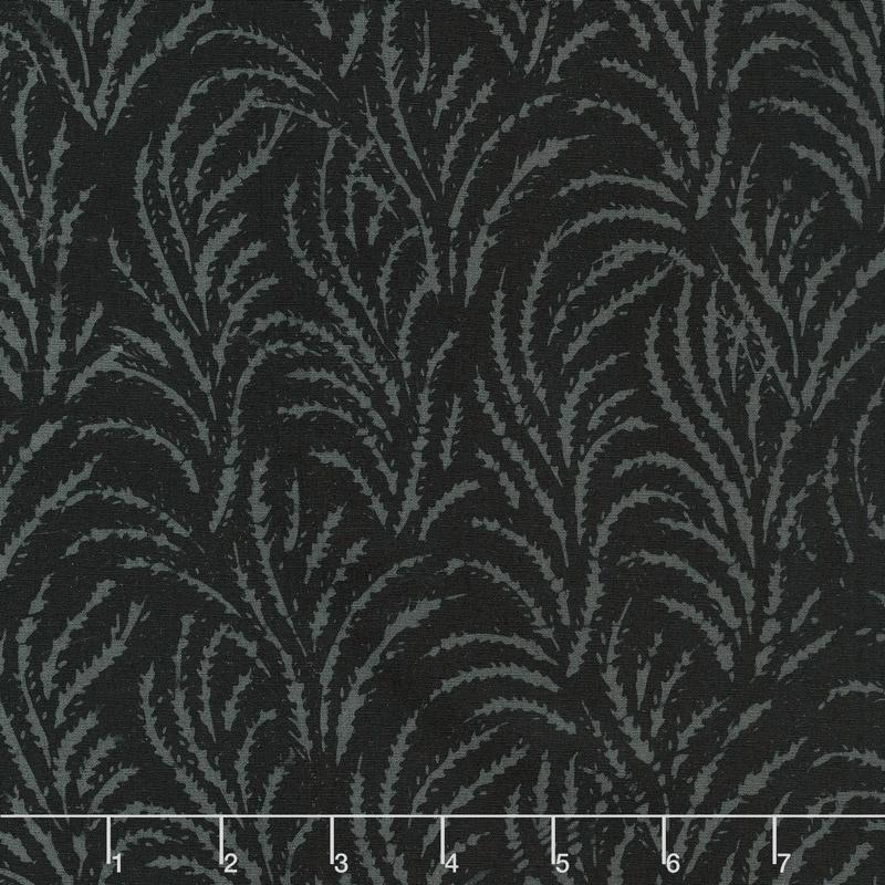 Black Beauty Batiks - Feather Black & Charcoal Yardage