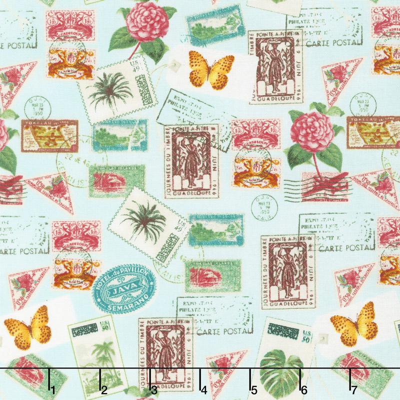 Paradise - Postage Stamps Aqua Yardage