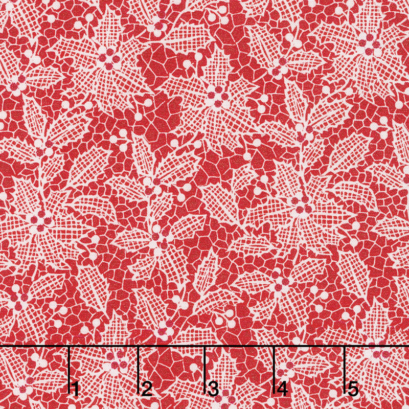 Let It Sparkle - Holiday Lace Radiant Cherry with Red Glitter Yardage