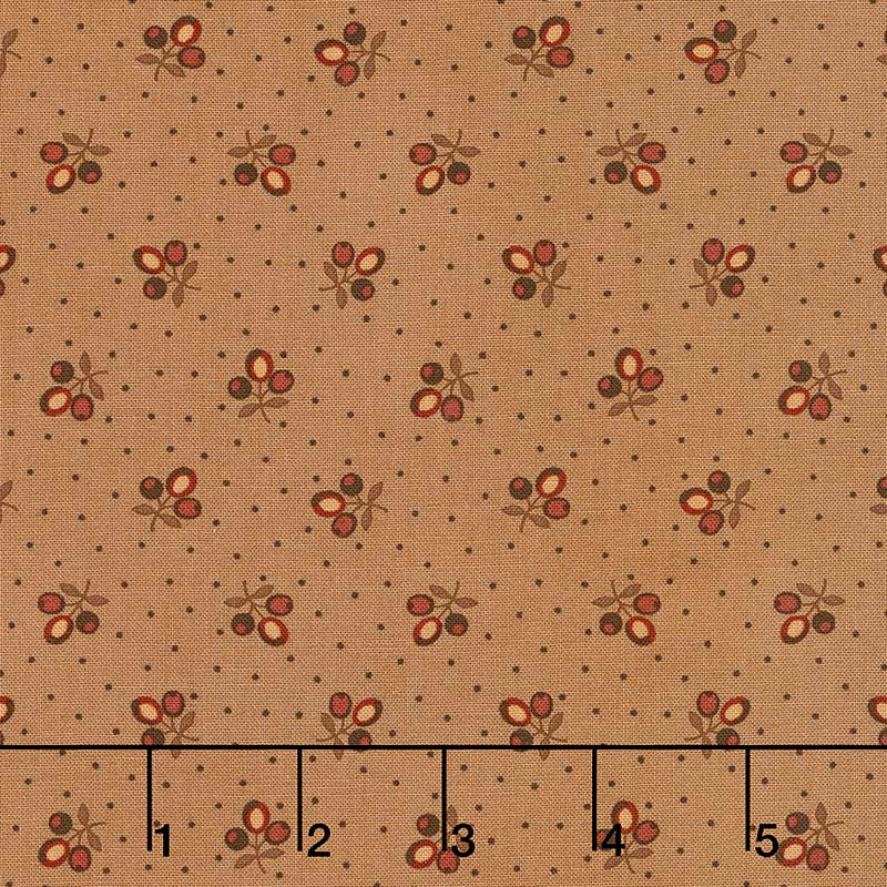 Lancaster - Tri-Flower Tan Yardage
