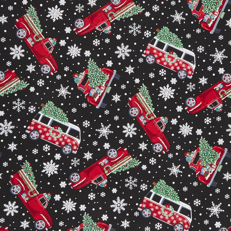 Let It Snow - Tossed Holiday Cars With Trees Black Yardage