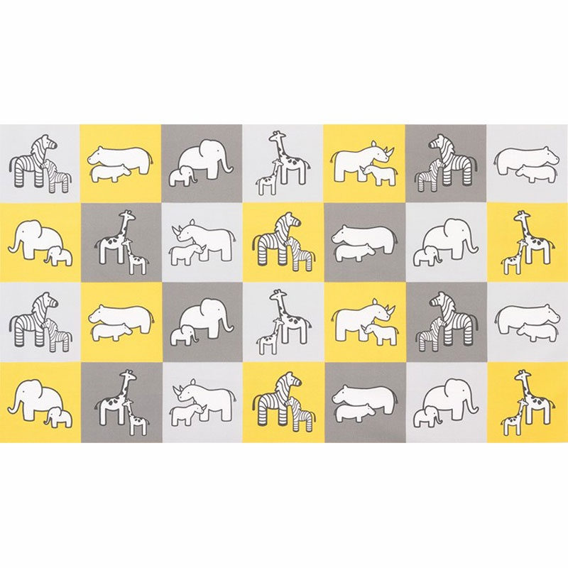Little Safari - Yellow Colorstory Safari Animal Yellow Flannel Panel