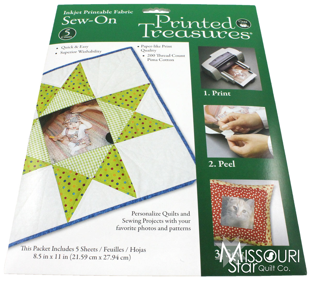 graphic about Printable Fabric Sheets for Quilting named Published Treasures Printer Cloth Sheets White - Dritz - Dritz