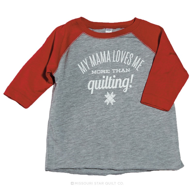 My Mama Loves Me More Than Quilting! Heather Gray with Red Sleeves Baseball T-Shirt - 2T