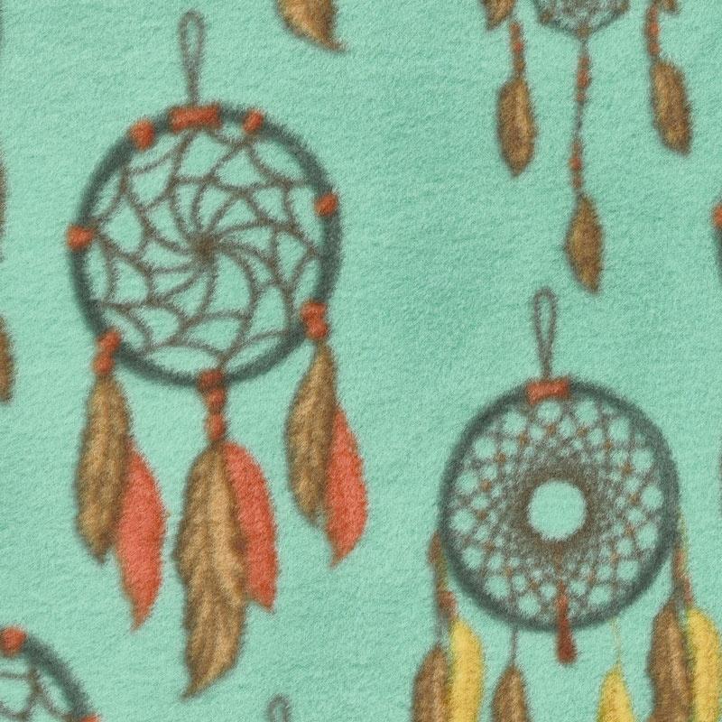 Winterfleece Prints Southwest - Dreamcatcher Turquoise Fleece Yardage