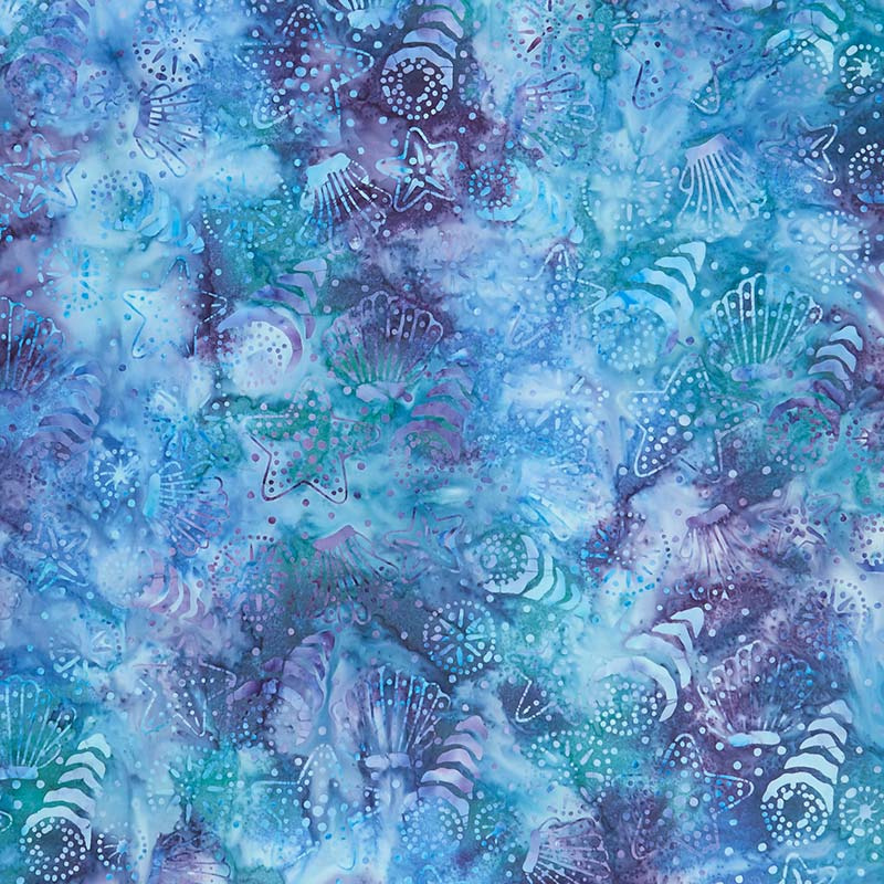 Coastal Getaway Batiks - Seashells Teal Multi Yardage