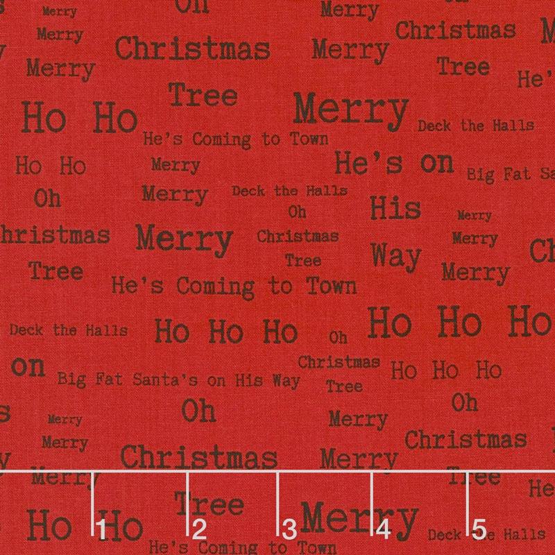 around town christmas words red yardage