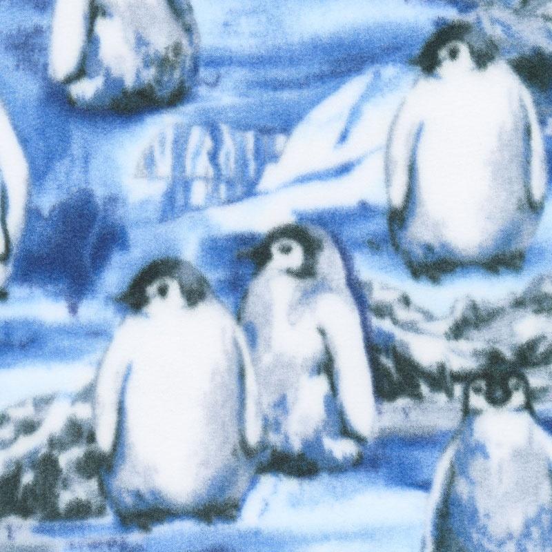 Winterfleece Prints Animals - Penguins Ice Floe Blue Fleece Yardage