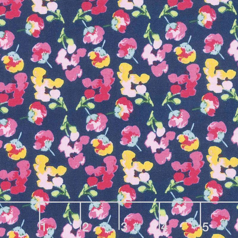 Fruitful Pleasures - Flowers Navy Yardage