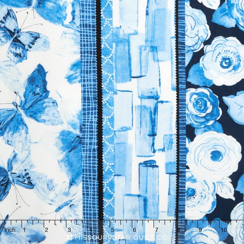 Butterfly Effect (Blue) - Stripe Blue on Blue Yardage