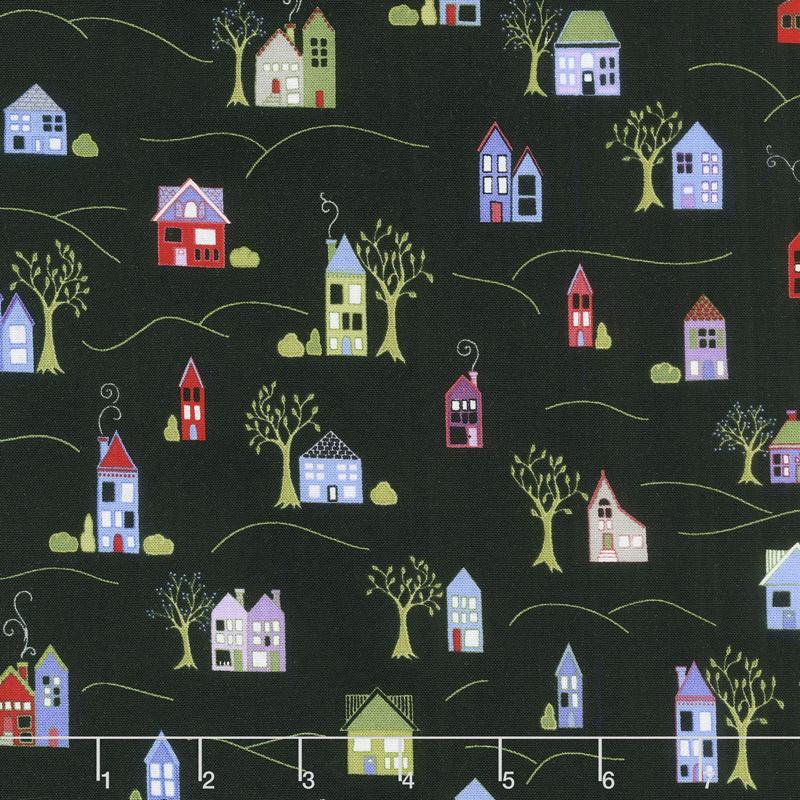 Home Again - Houses Black Yardage