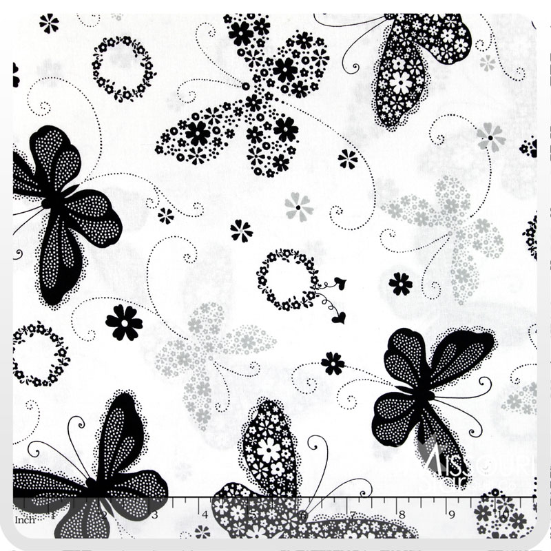 Cleo - Large White Butterflies Yardage