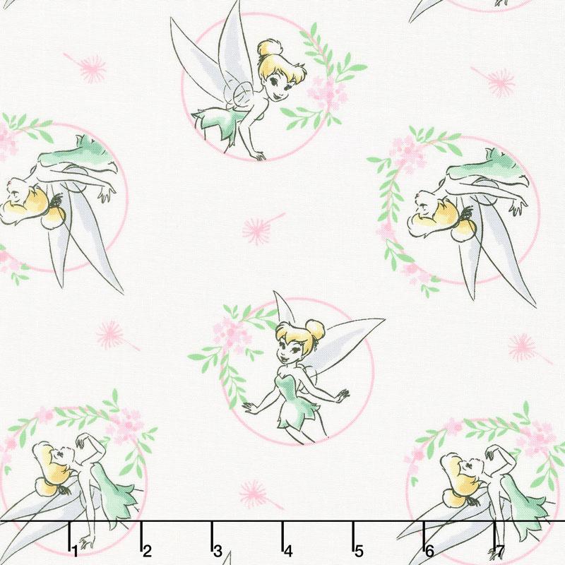 Tinkerbell - Floral Frame White Yardage - Camelot Design Studio ...